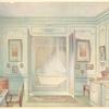 Salle de bains Louis XVI, avec une glace à trois faces....
