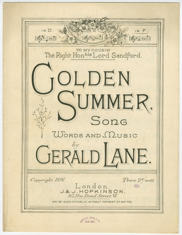 Golden summer song / words and music by Gerald Lane.