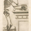 Secunda ossium tabula [Human skeleton inspecting a skull and in deep thinking]