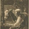 [Un vieux paysan présente une poignée de foin à son âne.]