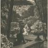 [Un monsieur accoudé à une balustrade, une femme passe dans le fond, effet de soir dans un parc.]
