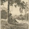 [Un homme assis au pied d'un arbre, tourné vers la droite.]