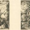 Deux frontispices sur la même planche : Titre pour Les tréteaux, de Charles Monselet ; Frontispice pour Oeuvres nouvelles de Champfleury