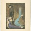 [Man supporting supine woman, aged man with bell, and woman in blue dress, arms raised in suppliction.]