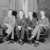 "Staff for Theatre Guild's production of ""Strange Interlude"" in  Philadelphia, Garrick Theatre, 1930. L to R: Ned Holmes, Business Mgr., Bretaigne Windust, Asst. Stage Mgr., Maurice McRae, Stage Mgr. and John Yorke, Company Mgr."