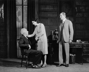 L to R: ??? as Prof. Leeds (seated), Judith Anderson as Nina and Tom Powers as Charles Marsden.
