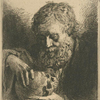 [Bust of a bearded man contemplating a skull.]