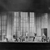 L to R: Henry Travers, Edgar Kent, Frederick Roland, Sylvia Field (standing), Earle Larimore, seated on table, Harry Mestayer and Sydney Greenstreet in R.U.R. Theatre Guild Tour Company Production, 1928-29. Set Designed by Lee Simonson.