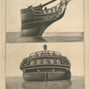 The head and stern of a frigate