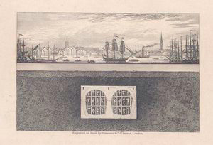 A view of Wapping, with the churches of Shadwell and St. George's in the East at a distance, and a transverse section of the Tunnel, with a view of workmen in different cells of the shield.