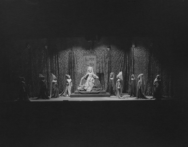 "Scene from ""King Richard III.""  Evelyn Walsh Hall as Queen Elizabeth (wife of Edward IV) seated on throne at al. Set by Robert Edmond Jones."