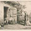 Femme faisant rentrer des porcs dans une porcherie.]