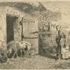 [Femme faisant rentrer des porcs dans une porcherie (copy).]