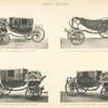 Fig. 18. - Full dress landau of Queen Victoria; Fig. 19. - Landau used for the Diamond Jubilee of Queen Victoria, 22nd of June, 1897; Fig. 20. - Full dress landau of the Prince of Wales; Fig. 21. - Full dress landau of the Prince of Wales (with swan neck perch). Great Britain.