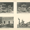 Fig. 54. - Gala carriage of the Empress Catherine II; Fig. 55. - Gala carriage (18th century); Fig. 56. - Dress chariot of Czarevitch; Fig. 57. - State sleigh of the Empress Catherine II. Russia.