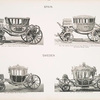 Fig. 106. - State coach of King Charles IV; Fig. 107. - State coach used for the marriage of King Ferdinand VII and Queen Marie Louise. Spain; Fig. 108. - Small royal state coach; Fig. 109. - Large royal state coach. Sweden.