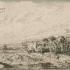 Paysage : chariot attelé de boeufs.]