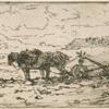 Paysage : charrue attelée au repos.]