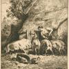 Une femme donnant à manger à des porcs.