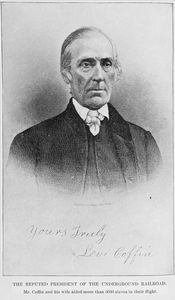 The reputed President of the Underground Railroad; Mr Coffin and his wife aided more than 3000 slaves in their flight.