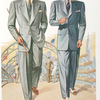 Model No. 707. Young men's two-button drape or lounge style; Model No. 708. Young men's three-button drape or lounge style.