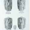Model No. 722. Young men's long roll double-breasted style; Model No. 723. Young men's two-button double-breasted style; Model No. 724. Young men's two-button rope shoulder style; Model No. 725. Young men's one-button peaked lapel style.