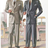 Model No. 726. Medium fitting three-button notch lapel style; Model No. 727. Medium fitting two-button peaked lapel style.