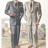 Model No. 728. Conservative three-button notch lapel style; Model No. 729. Conservative two-button notch lapel style.