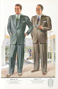 Model No. 730. Young men's two-button stout model; Model No. 731. Conservative two-button stout model.