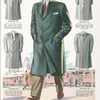 Model No. 736. Fashionable three-button topcoat; Model No. 737. Topcoat with military collar; Model No. 738. Military collar bal-raglan; Model No. 739. Fashionable raglan topcoat; Model No. 740. Fly front bal-raglan topcoat.