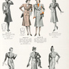 Tailored smartness in spring suits for ladies: the single-breasted open pleat waist-line style; double-breasted model of the open pleat waist-line style; three-button sport style; two-button peaked lapel style; link button style; three-button double-breasted style; two-button notch label style.