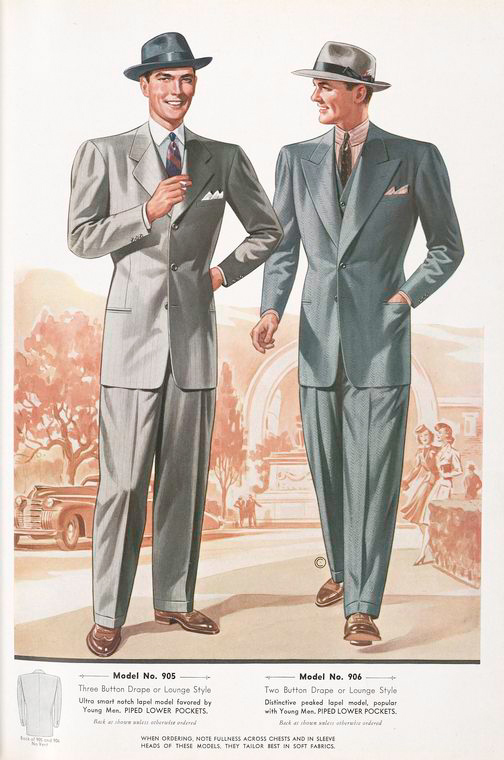 Model No. 905. Three button drape or lounge style; Model No. 906. Two button drape or lounge style; Piped lower pockets.