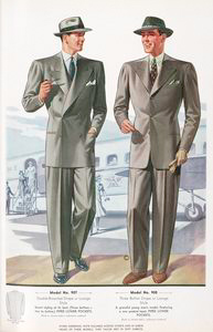 Model No. 907. Double-breasted drape or lounge style; Model No. 908. Three button drape or lounge style; Piped lower pockets.