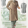 """Model No. 936. Stylish three button overcoat or topcoat; Model No. 937. """"Knock about"""" overcoat or topcoat, full cut, split, set in sleeves with tabs, patch pockets with flaps, stitched edges, loose back; Model No. 938. Fly overcoat or topcoat."""