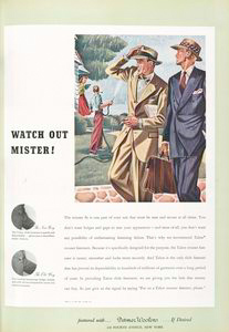 Watch out Mister! The Talon slide fastener... [Advertising the new way of trouser fasteners.]
