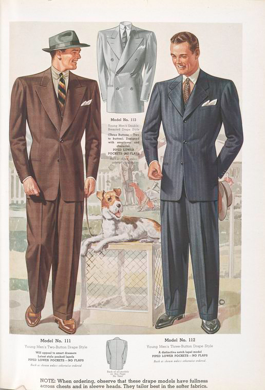 Model No. 111. Young men's two-button drape style; Model No. 112. Young men's three-button drape style; Model No. 113. Young men's double-breasted drape style.
