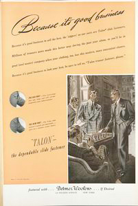 "Because it's good business; ""Talon"" - the dependable slide fastener; [Advertisement.]"