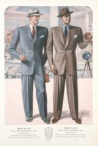 Model No. 211. Young men's three-button sack; Model No. 212. Young men's two-button sack.