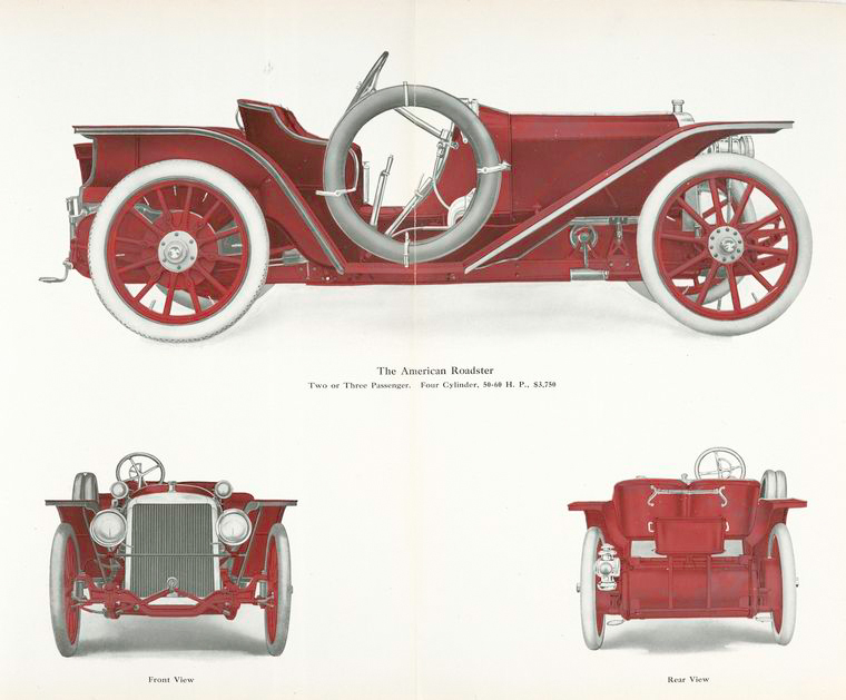 The American Roadster; Two or three passenger; Four cylinder, 50 - 60 h.p., $ 3,750.