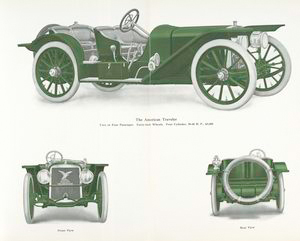 The American Traveler; Two or four passenger; forty-inch wheels, four cylinder, 50 - 60 h.p., $ 4,000.