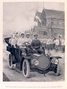 The Czar leaving the racecourse at Krasnoe Selo, in his 40 horse-power Delaunay Belleville.