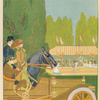 [A man watching tennis players from his Herreshoff car.]