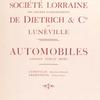 Société Lorraine des anciens établissements de Dietrich & Cie de Lunéville: Automobiles. [Title page.]
