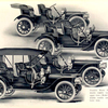 Franklin Model D single and double rumble seat runabout, upper view; Model H single and double rumble seat runabout, lower view.
