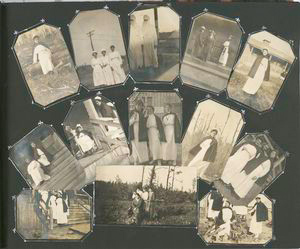 [Photographs of nurses in nursing uniform, in surgical uniform, and in civilian dress at Camp Upton, New York, 1918.]