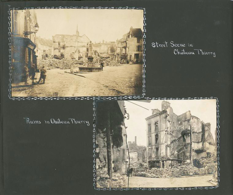 Street scene in Chateau Thierry ; Ruins in Chateau Thierry.