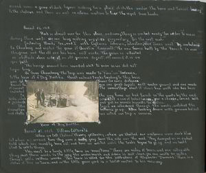 Diary entries: August 19, 1918, cont.; August 26, 1918; photograph depicting the base of big bertha.