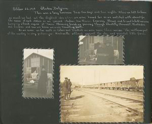[Diary entries : October 26, 1918 Staden, Belgium; photographs depicting nurses holding loaf of bread, soldiers and troop train.]