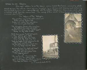 [Diary entries : October 30, 1918 Staden Belgium; The return of the refugees (poem); photographs depicting nurse posing in front of ruined house, ruined building.]