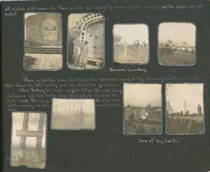 [Diary entries : November 20, 1918 cont.; photographs depicting American nurse at the base of Big Bertha, German soldier's cemetery and monuments, group photo of nurses, nurse and a soldier.]